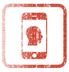 Smartphone contact human portrait framed textured vector
