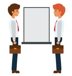 Two businessmen talking near presentation board vector