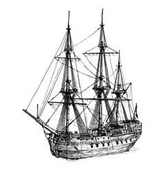18th-century cargo ship vector image