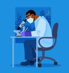 african american scientist looking through vector image