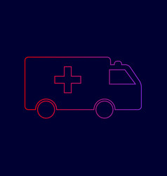 ambulance sign line icon vector image