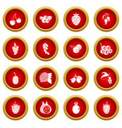 Berries icon red circle set vector
