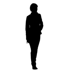 Black silhouette woman standing people on white vector