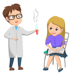 boy and girl in science club doing experiment vector image