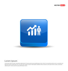 business man with growing graph icon - 3d blue vector image