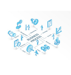 business process isometric concept connected line vector image