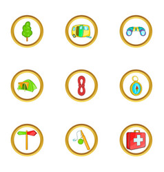 Camping holiday icons set cartoon style vector