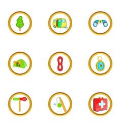 camping holiday icons set cartoon style vector image