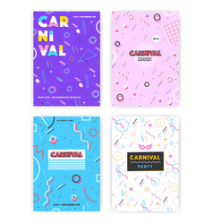 Carnival poster set abstract retro 80s 90s vector