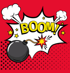 cartoon bomb icon with text vector image