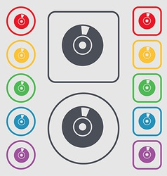 CD or DVD icon sign symbol on the Round and square vector