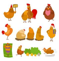 Chicken cartoon chick character on happy vector