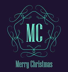 Christmas decorative retro badge Elegant hipster vector