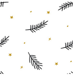 christmas seamless pattern with coniferous vector image