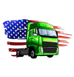 Classic american truck vector