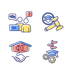 College life rgb color icons set vector