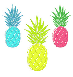 Colorful cartoon pineapples vector