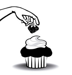 cupcake with strawberry and hand vector image
