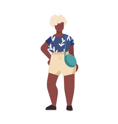 Curvy african american woman flat vector