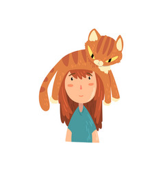 Cute girl and her funny cat adorable pet sleeping vector