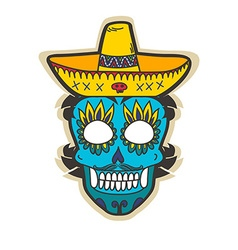 Day of dead skull with sombrero vector