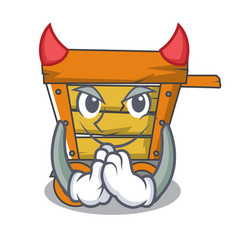 Devil wooden trolley mascot cartoon vector