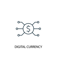 digital currency concept line icon simple element vector image