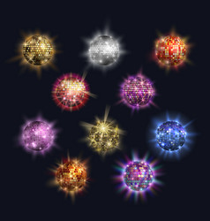 Disco balls club sphere glitter retro party vector