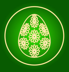 Egg with flowers in a neon circle easter vector