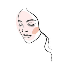 face a beautiful young woman line art 1 vector image