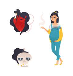 Flat danger of smoking symbols icon set vector