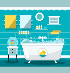 flat design bathroom with bathtub vector image