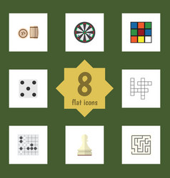 Flat icon games set of gomoku pawn backgammon vector