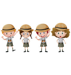 Four kids in safari outfit vector