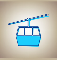 funicular cable car sign sky blue icon vector image