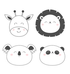 giraffe lion koala panda bear round face head vector image