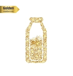 Gold glitter icon of the milk in the bottle vector
