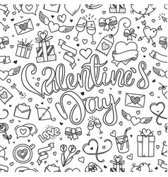 greeting card with valintaines day calligraphic vector image