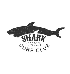 Grey Shark Summer Surf Club Black And White Stamp vector