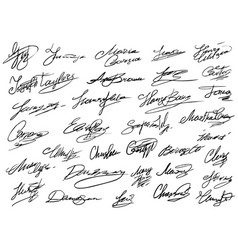 Hand drawn curved business autograph isolated set vector