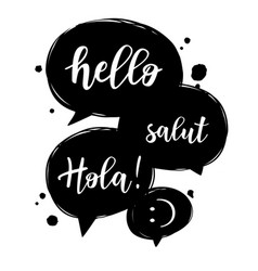 Hello in different languages vector