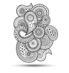 Henna Paisley Mehndi Doodles Design Element vector image