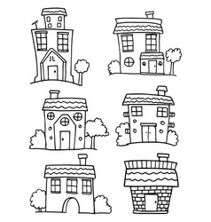 house set with hand draw vector image