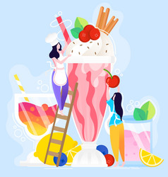 ice cream poster and summer vector image