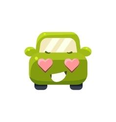 In love green car emoji vector