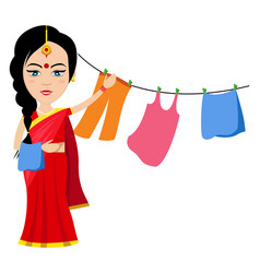 Indian woman with clothes on white background vector