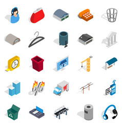 industrial zone icons set isometric style vector image