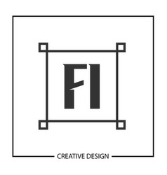 initial letter fi logo template design vector image