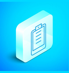Isometric line clipboard with checklist icon vector
