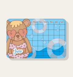 june calendar with bear cute animal vector image